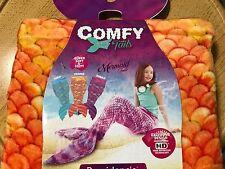 NEW Comfy Mermaid Tails Childrens Super Soft Cozy Fleece Throw Blanket Orange