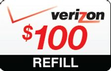 VERIZON WIRLESS $100 Refill Card