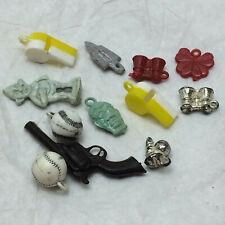 12 Vtg Plastic Cracker Jack Gumball Lot Whistle Baseball Funky Monster Charm