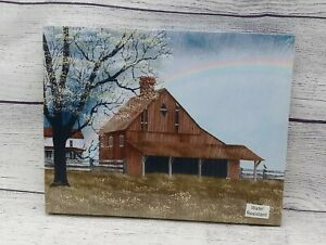 """His Promise by Billy Jacobs, Canvas Picture, 8""""x10"""", Rainbow Over Barn Farmhouse"""