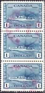 Sc #262 Canada 1942 War - Strip of 3 - $1 Destroyers ~ Superfeas - cv $33