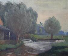 Georges Le Meilleur huile sur toile Au moulin de la Saâne normand Rouen
