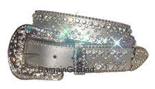 Bejeweled Western Rhinestone Crystal Bling Silver Leather Snap On Buckle Belt ML