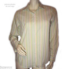 WORTHINGTON Button Down Shirt Top 4 Long Sleeve White Multicolor Pastel Striped