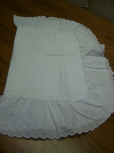 "White Standard Cotton Blend Pillow Sham/6"" Swiss Dot/Scalloped Edge Ruffle"