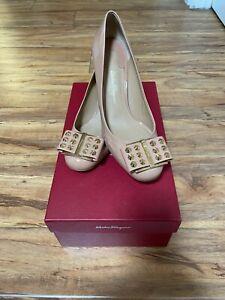 Salvatore Ferragamo Patent Leather Gold Column Heel Pumps 6B