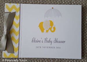 PERSONALISED CHEVRON ELEPHANT BABY SHOWER GUEST BOOK - YELLOW AND GREY