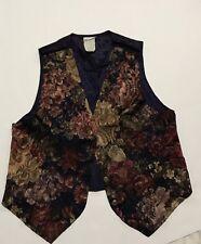 VINTAGE 80S Sz M Floral Print WOMENS  Vest Waistcoat
