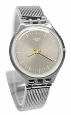 Swatch SVOM100M Skinmesh Brown Dial Silver Steel Bracelet Skin Watch New