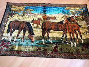 """Vintage Large 75""""x49"""" Horses Stallions Wall Hanging Tapestry Or Rug Colorful"""
