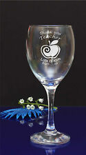 Personalised Thank You Teacher twirl apple engraved wine glass student gift/115