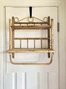 Vintage Wall Mount 2 Tier Rattan Bamboo Wicker Shelf w/ Towel Bar Holder