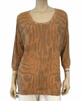 WILFRED 3/4 Sleeve Animal Print Silk Cashmere Pullover Sweater L NEW WITH TAGS