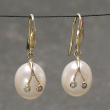 14k Yellow Gold Sparkling Diamond; Genuine White Cultured Pearl Hook Earring TPJ