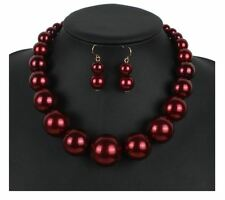 DARK RED FAUX PEARL GRADUATED EXTRA LARGE BEAD NECKLACE EARRINGS SET