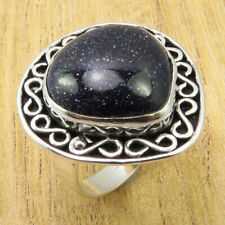 BOYS' Ring Size 8 | Classic Blue Goldstone Silver Plated Metal Jewellery NEW
