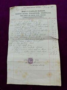 Charles Romain 1898 Cabinet Maker upholsterer Undertaker Devizes  Stamp Receipt