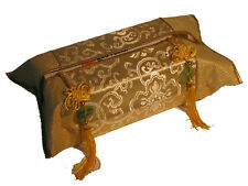 Chinese Silk Decor, Tissue Box Cover in Yellow (Gold) with Tassles