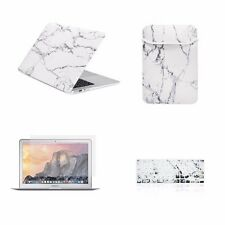"4 IN 1 Macbook Air 13"" White Marble Matte Hard Case + Keyboard Cover + LCD + Bag"