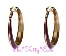 Large Round Gold Hoop Bright Enamel Kitsch Retro Earrings - 15 Popping Colours