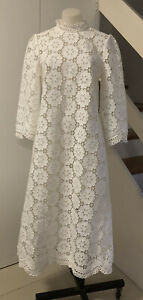 ZIMMERMANN   linen-blend guipure-lace Midi dress Size 1🌟🌟🌟Sample
