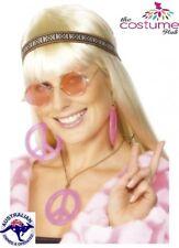 1970s Womens Hippie Hippy Kit 70s 60s Peace Medallion Earings Round Glasses