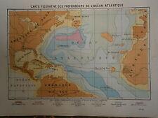 gravure carte figurative des profondeurs de l'Océan Atlantique