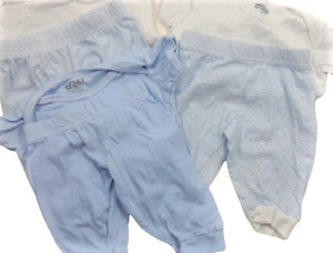 CARTER'S LOT OF 3 ONE PIECE And 3 PANTS SIZE 0-6 MONTHS BLUE AND WHITE