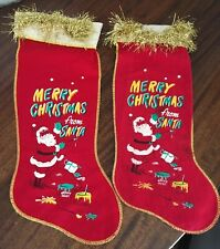 2 Vintage 1950s Red Felt Flannel Stenciled Stockings Merry Christmas from Santa