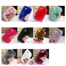 Fluffy Rabbit Hair Mobile Phone Case Lovely Plush Furry Diamond For iPhone lot