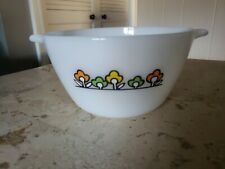 """Vintage Fire King 7"""" Summerfield flower Mixing Bowl Anchor Hocking 1970's"""