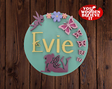 """Personalised Wooden Name Circle Sign Fairy Butterflies Flower Wall Plaque 10"""""""