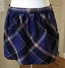 Old Navy Purple And Navy Blue Plaid Fully Lined Wool Blend Mini Skirt Size 4