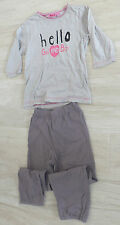 "604 - Pyjama coton 6 ans NKY gris pois rose ""hello girl and boy"""