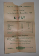 British Railways Cheap Excursion Bookings To Derby 1953 Leaflet