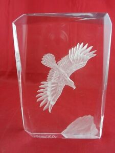 Michael F. Cox Reverse Carved Lucite Clear Eagle Bird Rock Signed Art Sculpture