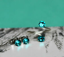 Birthstone Toe Ring/Earring Set Silver/Gold made with Swarovski Crystal Elements