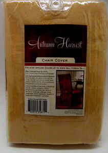 """Autumn Harvest Slip Chair Cover Wheat Color Dinning Room For 42"""" Armless Chair"""