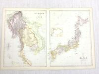 1888 Antik Map Of Burma Siam Anam Japan Asien Alt 19th Jahrhundert Blackie &