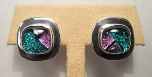 Beautiful-Mexico-Dichroic Glass-Triangle Design-Sterling Silver-Stud Earrings