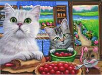 ACEO KITCHEN GRAY WHITE CAT TABBY KITCHEN MOUSE COOK CHERRY PIE GARDEN PAINTING