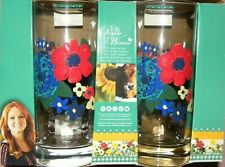 The Pioneer Woman Glasses Drinkware Tumblers Dazzling Dahlias Set of 4 NEW