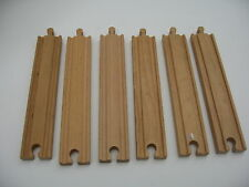 6 LONG STRAIGHT WOODEN TRAIN TRACK PIECES set  ( Brio Thomas SIX )