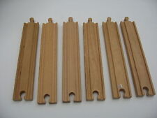 6 LONG STRAIGHT WOODEN TRAIN TRACK PIECES set  ( Brio Thomas )