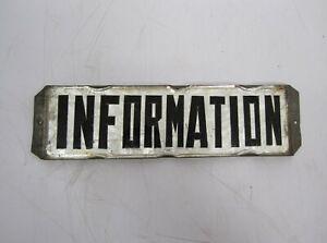 Vtg Information Door Sign Plaque Glass Pinched Metal Foil Back Commercial