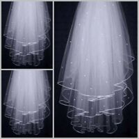 1/ 2Layer white Ivory Elbow Length Satin Edge Wedding Bridal Veil with Comb