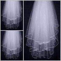 1/ 2Layer white Ivory Elbow Length Satin Edge Wedding Bridal Veil with Comb