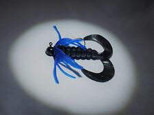3 Inch Twin Curly Tail Jig - Black W/Blue Collar - 1/8 oz Jig - 1/0 Hook
