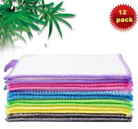 12PCS Bamboo Dish Cloths Cleaning Cloth and Dishcloths Sets Durable Eco-Friendly