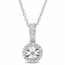 Amour Sterling Silver 1/6ct TDW Diamond Circle Halo Dangle Necklace